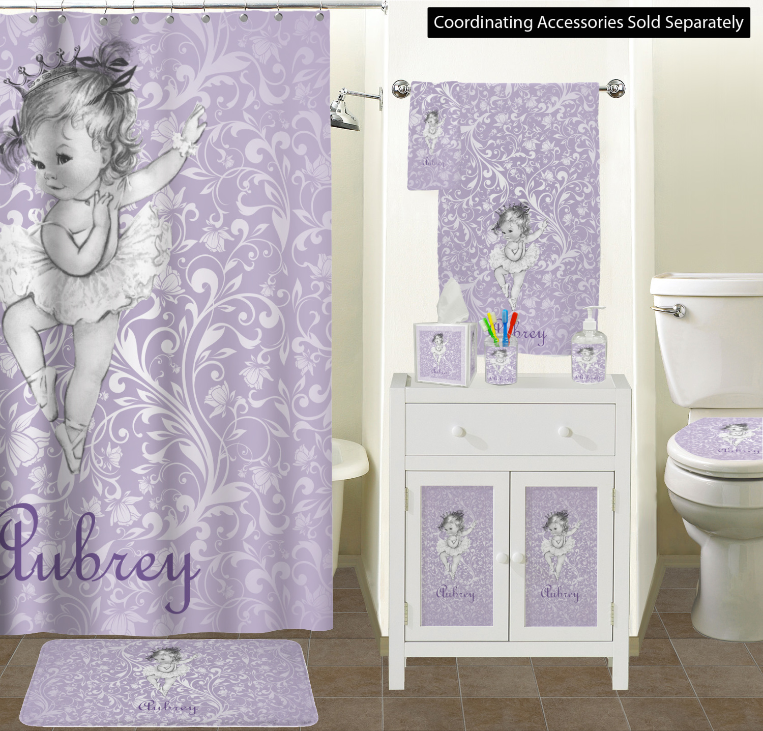 Ballerina Bathroom Accessories Set (Personalized) - YouCustomizeIt
