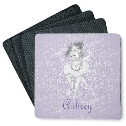 Ballerina 4 Square Coasters - Rubber Backed (Personalized)
