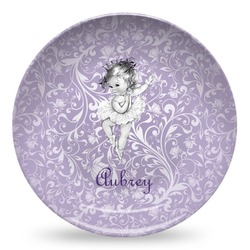 Ballerina Microwave Safe Plastic Plate - Composite Polymer (Personalized)