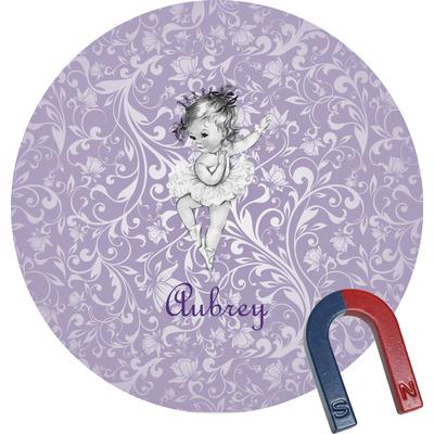 Ballerina Round Fridge Magnet (Personalized)