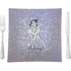 """Ballerina Glass Square Lunch / Dinner Plate 9.5"""" - Single or Set of 4 (Personalized)"""