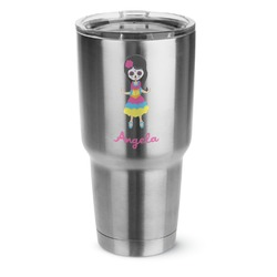 Kids Sugar Skulls 30 oz Silver Stainless Steel Tumbler w/Full Color Graphics (Personalized)
