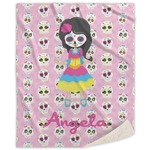 Kids Sugar Skulls Sherpa Throw Blanket (Personalized)