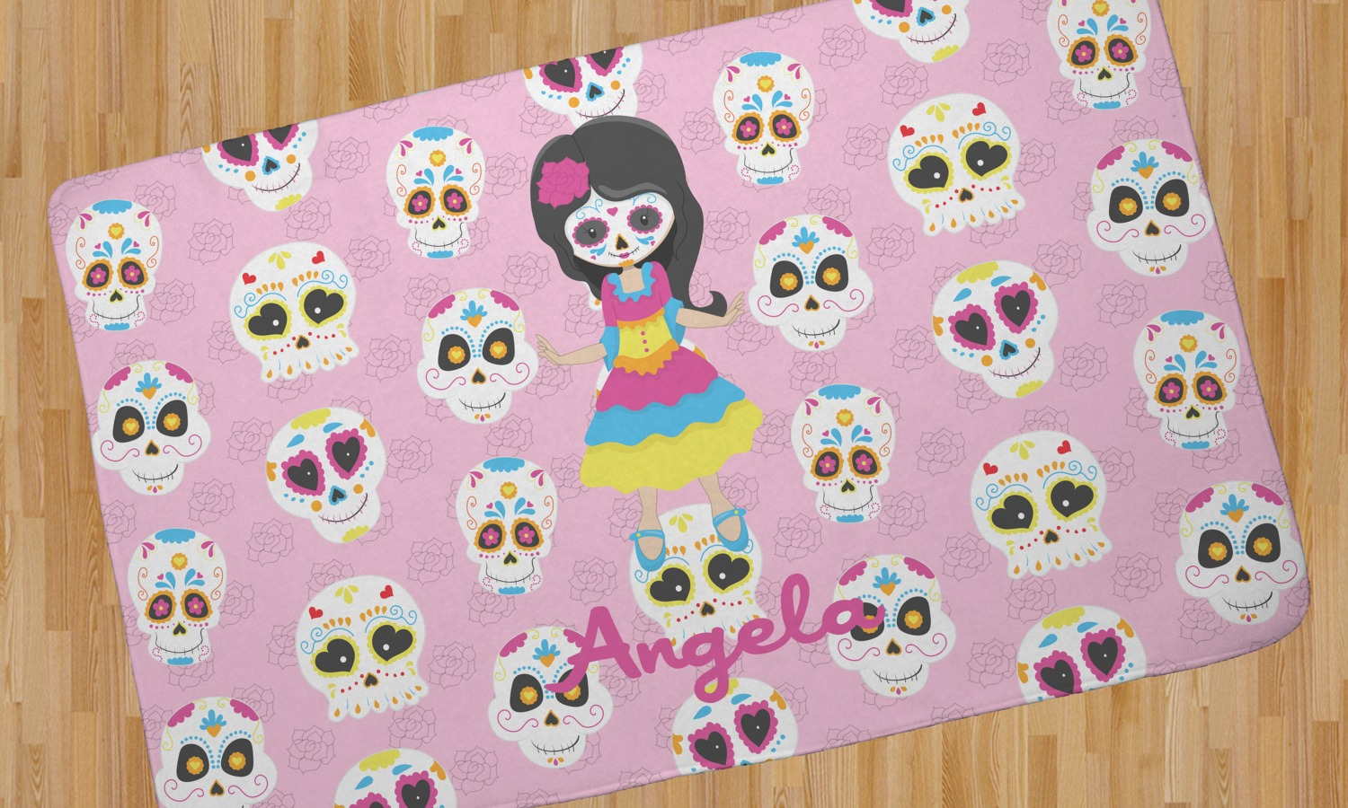 Kids Sugar Skulls Area Rug Personalized