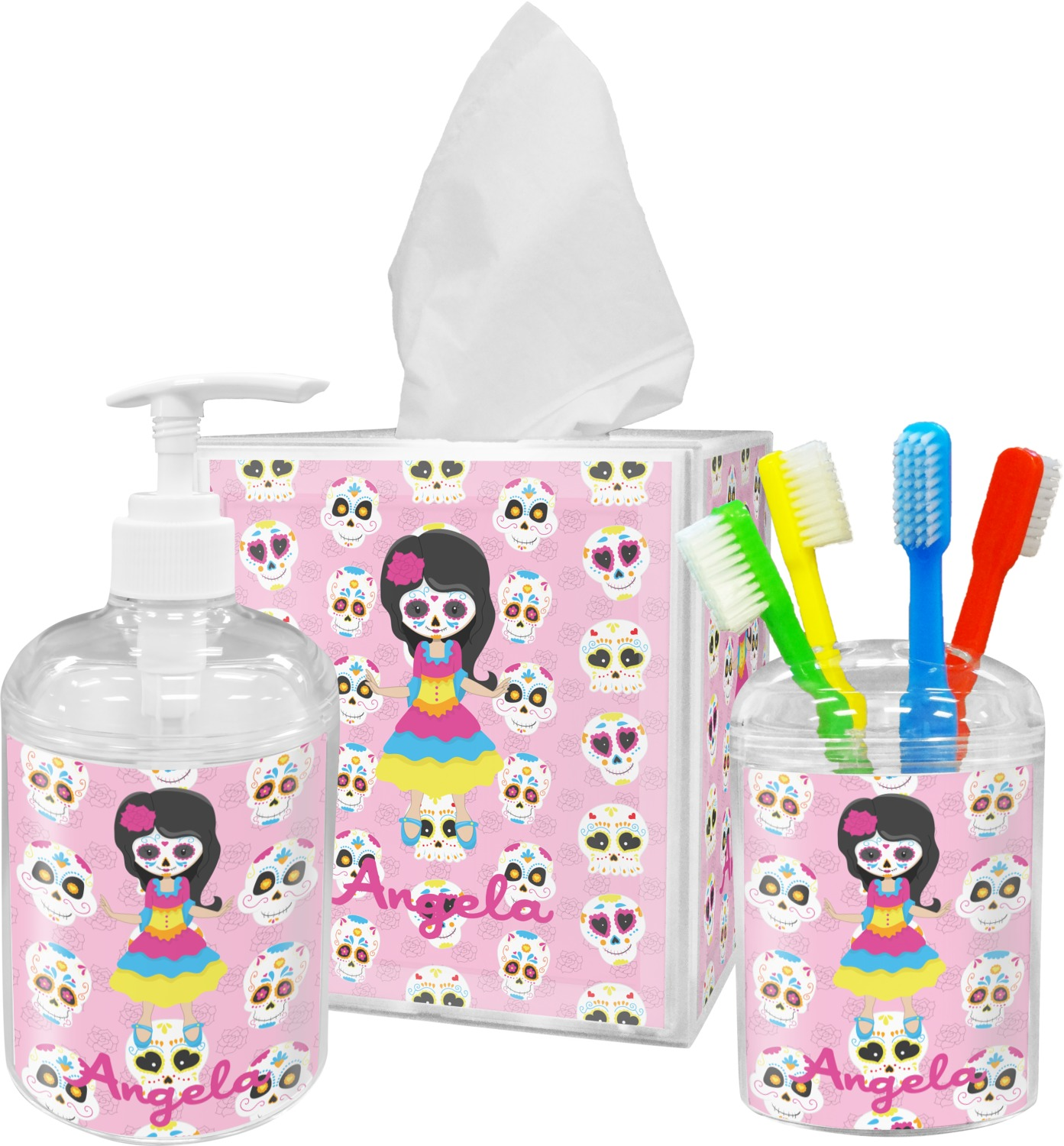 Kids sugar skulls bathroom accessories set personalized for Kids bathroom accessories