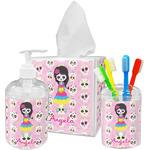 Kids Sugar Skulls Acrylic Bathroom Accessories Set w/ Name or Text