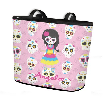 Kids Sugar Skulls Bucket Tote w/ Genuine Leather Trim (Personalized)