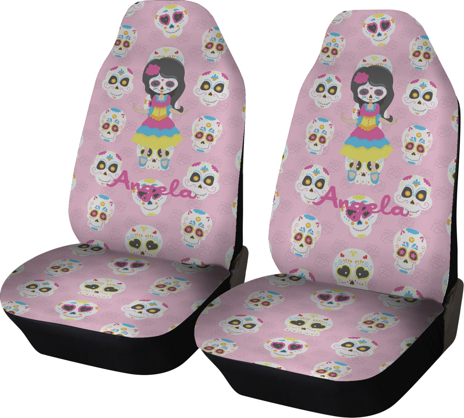 Kids Sugar Skulls Car Seat Covers Set Of Two Personalized