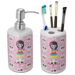 Kids Sugar Skulls Ceramic Bathroom Accessories Set (Personalized)