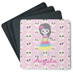 Kids Sugar Skulls 4 Square Coasters - Rubber Backed (Personalized)
