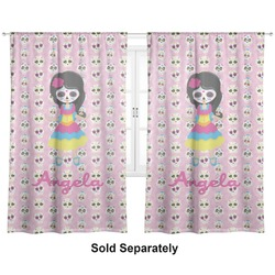 "Kids Sugar Skulls Curtains - 40""x84"" Panels - Unlined (2 Panels Per Set) (Personalized)"