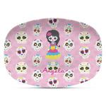 Kids Sugar Skulls Plastic Platter - Microwave & Oven Safe Composite Polymer (Personalized)