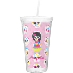 Kids Sugar Skulls Double Wall Tumbler with Straw (Personalized)