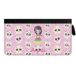Kids Sugar Skulls Genuine Leather Ladies Zippered Wallet (Personalized)