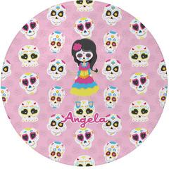 Kids Sugar Skulls Round Glass Cutting Board (Personalized)
