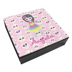 Kids Sugar Skulls Leatherette Keepsake Box - 8x8 (Personalized)