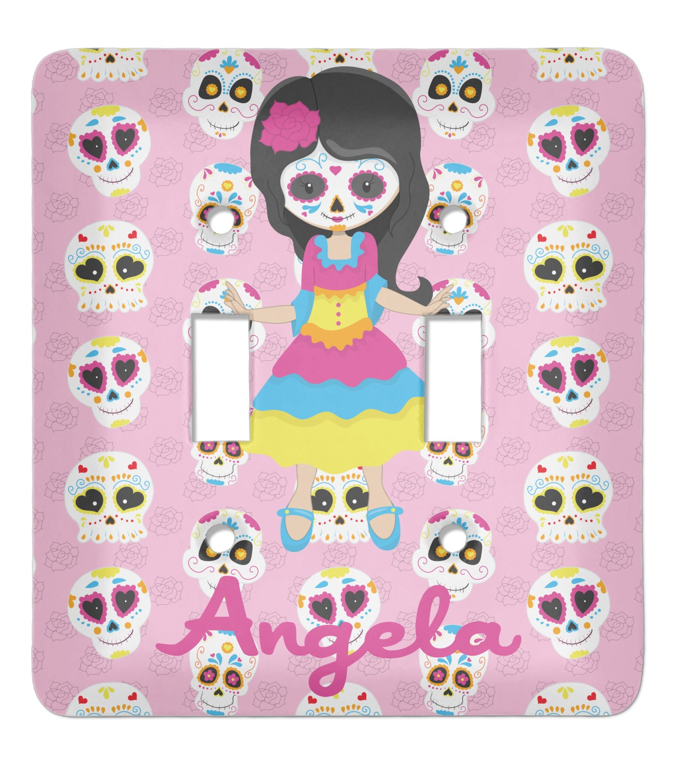 Kids Sugar Skulls Light Switch Cover 2 Toggle Plate Personalized