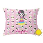 Kids Sugar Skulls Outdoor Throw Pillow (Rectangular) (Personalized)