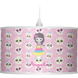 Kids Sugar Skulls Drum Pendant Lamp Linen (Personalized)