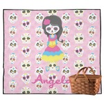 Kids Sugar Skulls Outdoor Picnic Blanket (Personalized)