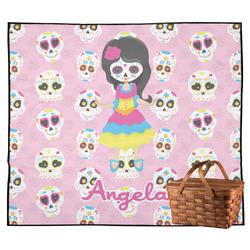 Kids Sugar Skulls Outdoor Picnic Blanket (Personalized)