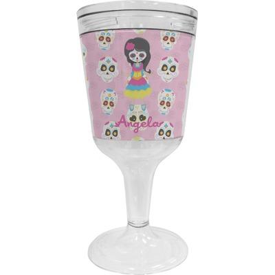 Kids Sugar Skulls Wine Tumbler - 11 oz Plastic (Personalized)