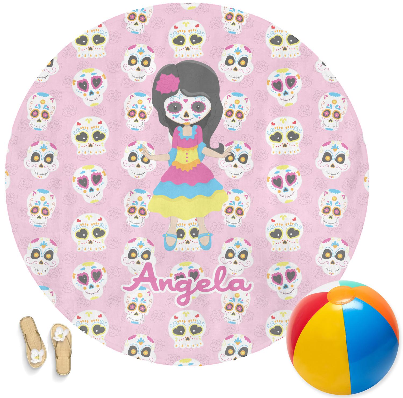 kids sugar skulls round beach towel personalized youcustomizeit