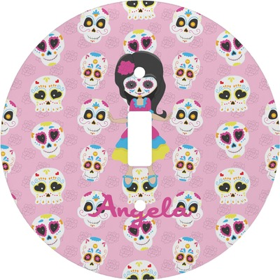 Kids Sugar Skulls Round Light Switch Cover (Personalized)