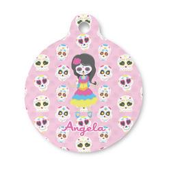 Kids Sugar Skulls Round Pet ID Tag (Personalized)