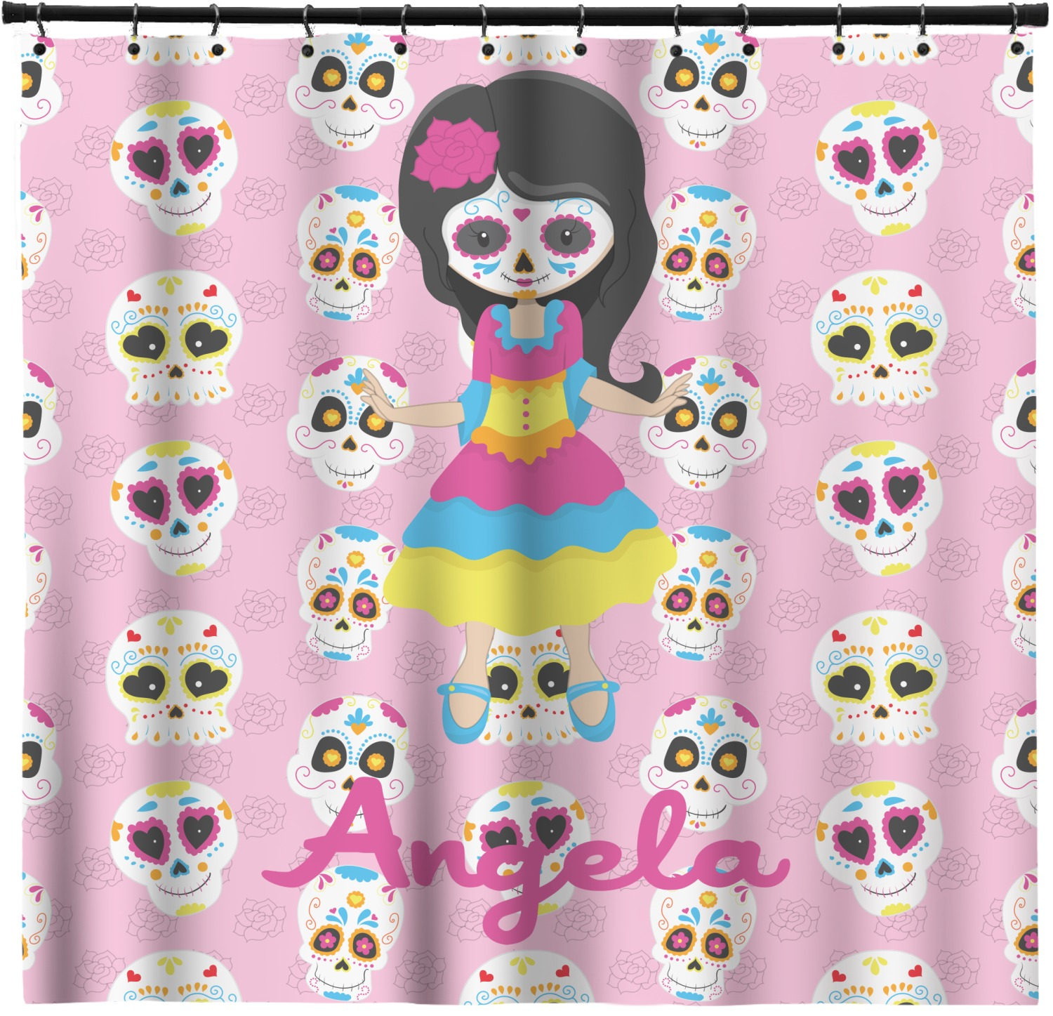 Kids Sugar Skulls Shower Curtain Personalized