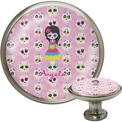 Kids Sugar Skulls Cabinet Knob (Silver) (Personalized)
