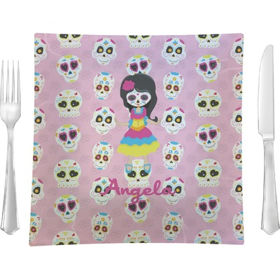 """Kids Sugar Skulls 9.5"""" Glass Square Lunch / Dinner Plate- Single or Set of 4 (Personalized)"""