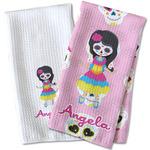 Kids Sugar Skulls Waffle Weave Kitchen Towel (Personalized)
