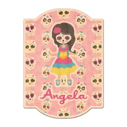 Kids Sugar Skulls Genuine Maple or Cherry Wood Sticker (Personalized)