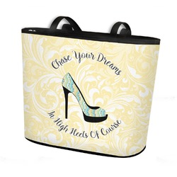 High Heels Bucket Tote w/ Genuine Leather Trim
