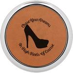 High Heels Leatherette Round Coaster w/ Silver Edge - Single or Set