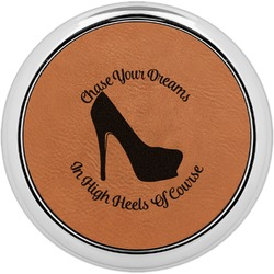 High Heels Leatherette Round Coaster w/ Silver Edge - Single or Set