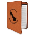 High Heels Leatherette Zipper Portfolio with Notepad