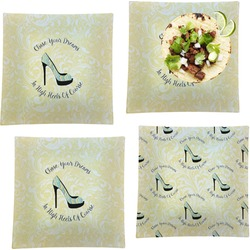 """High Heels Set of 4 Glass Square Lunch / Dinner Plate 9.5"""""""