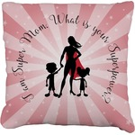 Super Mom Faux-Linen Throw Pillow