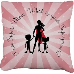 Super Mom Faux-Linen Throw Pillow