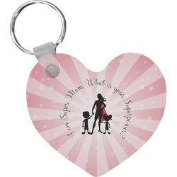 Super Mom Heart Keychain