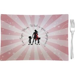 Super Mom Glass Rectangular Appetizer / Dessert Plate - Single or Set