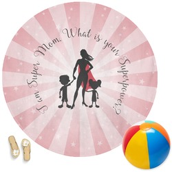 Super Mom Round Beach Towel