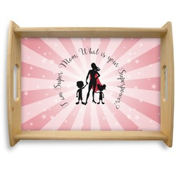 Super Mom Natural Wooden Tray - Large