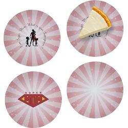 "Super Mom Set of 4 Glass Appetizer / Dessert Plate 8"""