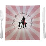 """Super Mom Glass Square Lunch / Dinner Plate 9.5"""" - Single or Set of 4"""