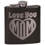 Love You Mom Black Flask Set
