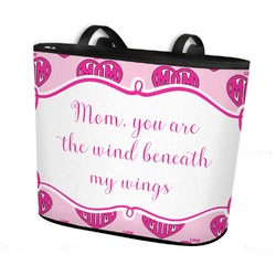 Love You Mom Bucket Tote w/ Genuine Leather Trim