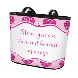 Love You Mom Bucket Tote w/ Genuine Leather Trim
